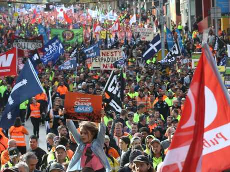 The scope of the union rally in Melbourne last year. Picture: David Crosling