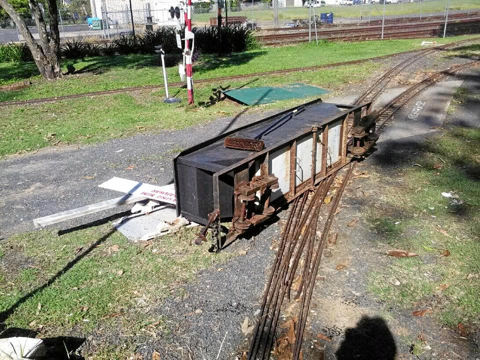 OUTRAGE: Casino Mini Railway volunteers have been left shocked and angry after vandals slashed nine tyres on transport trailers and knocked over a carriage over the weekend.