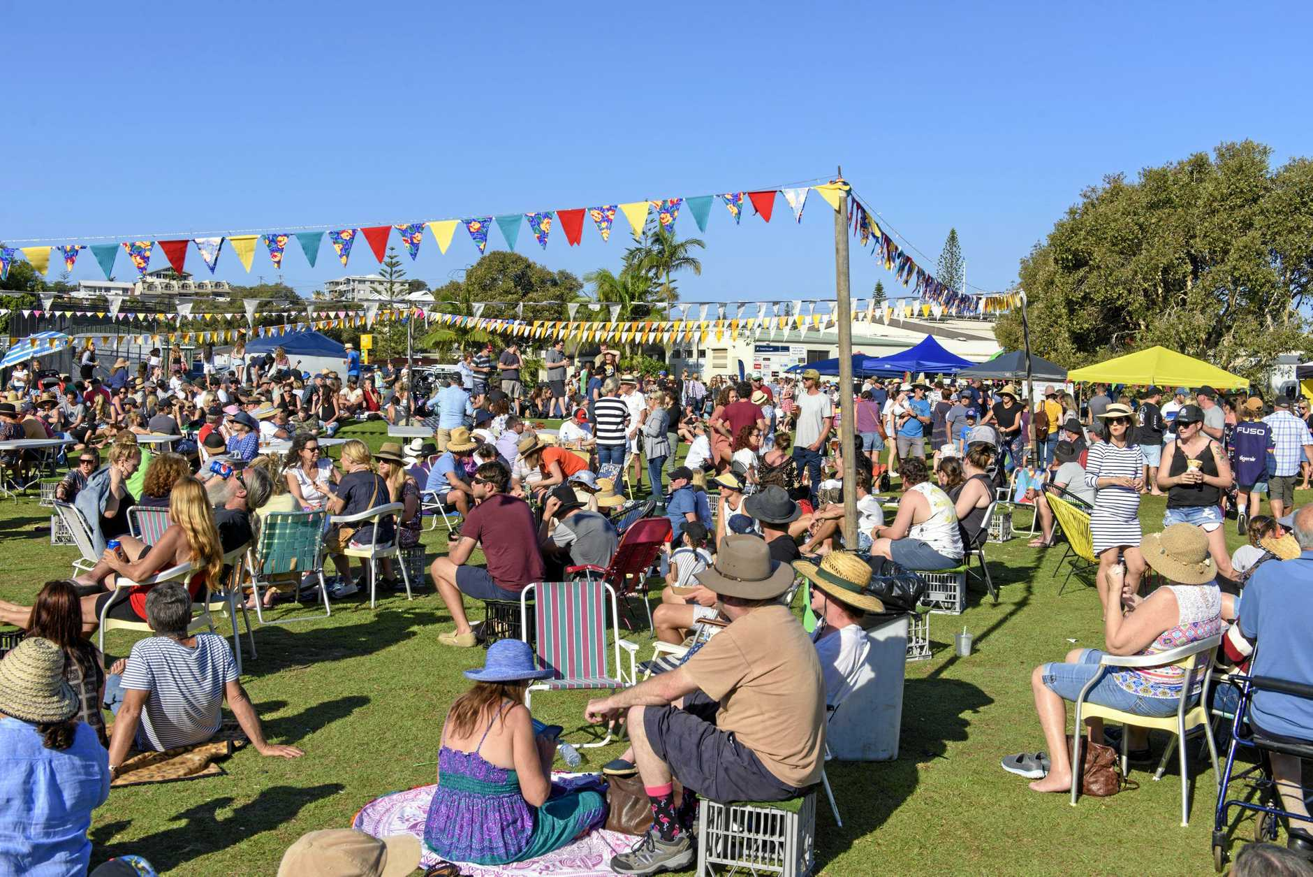 The crowd at the Yamba Gourmet Street Food Truck Festival at the Yamba Golf Club.