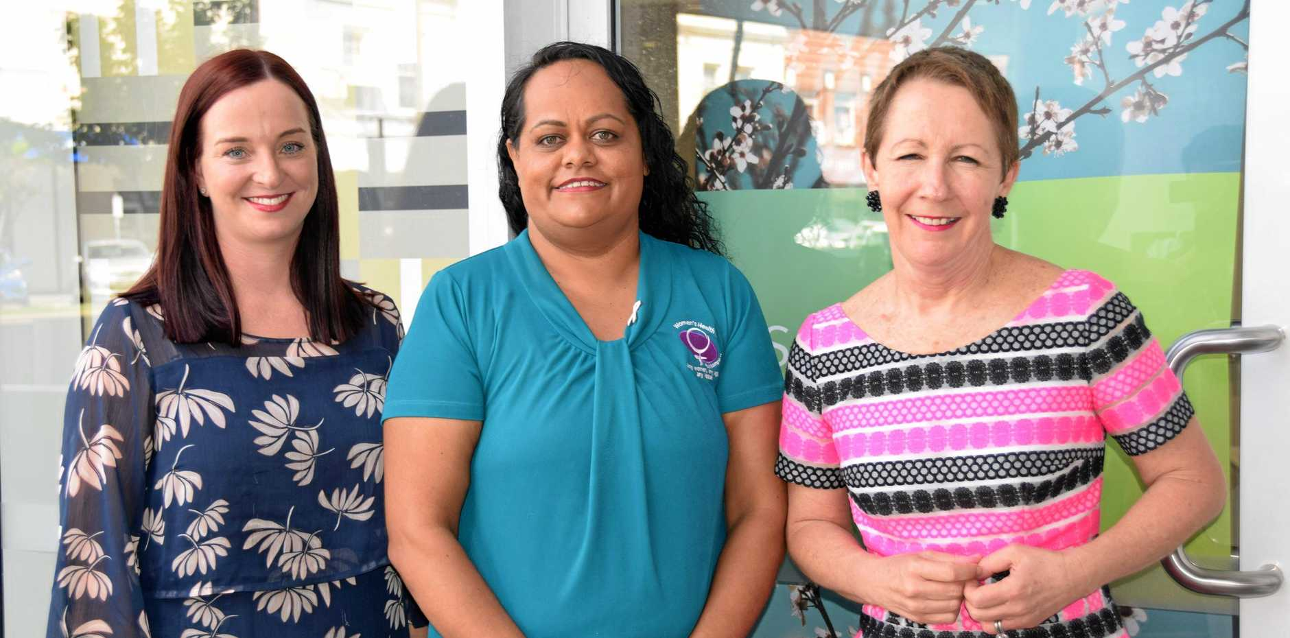 SHARE YOUR EXPERIENCE: Member for Keppel Brittany Lauga, Rockhampton indigenous sexual assault counsellor and Women's Health Centre spokeswoman Charmaine Law and Minister for the Prevention of Domestic and Family Violence Di Farmer.