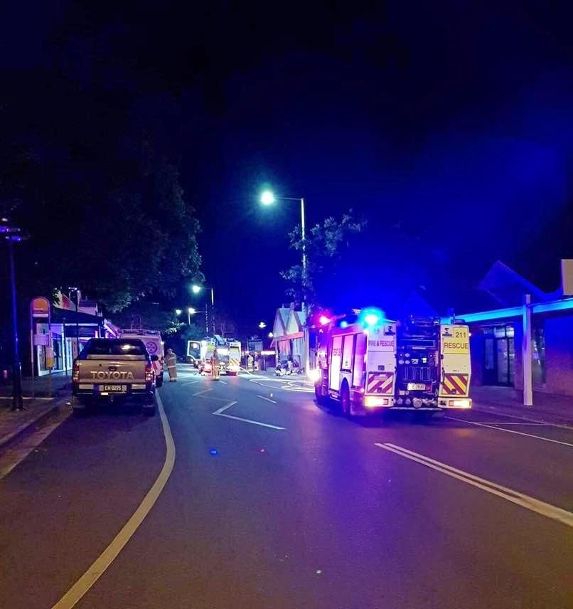 NSW Fire & Rescue Alstonville crews at the scene of the business fire in Main St in November last year.