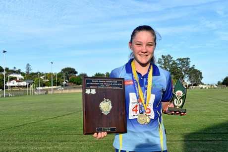 Gympie Athletics - L and G Cross Family Shield Intermediate Female Athlete under 12 - under 14 under 13 girls winner and under 13 age champion Amelia Garner.