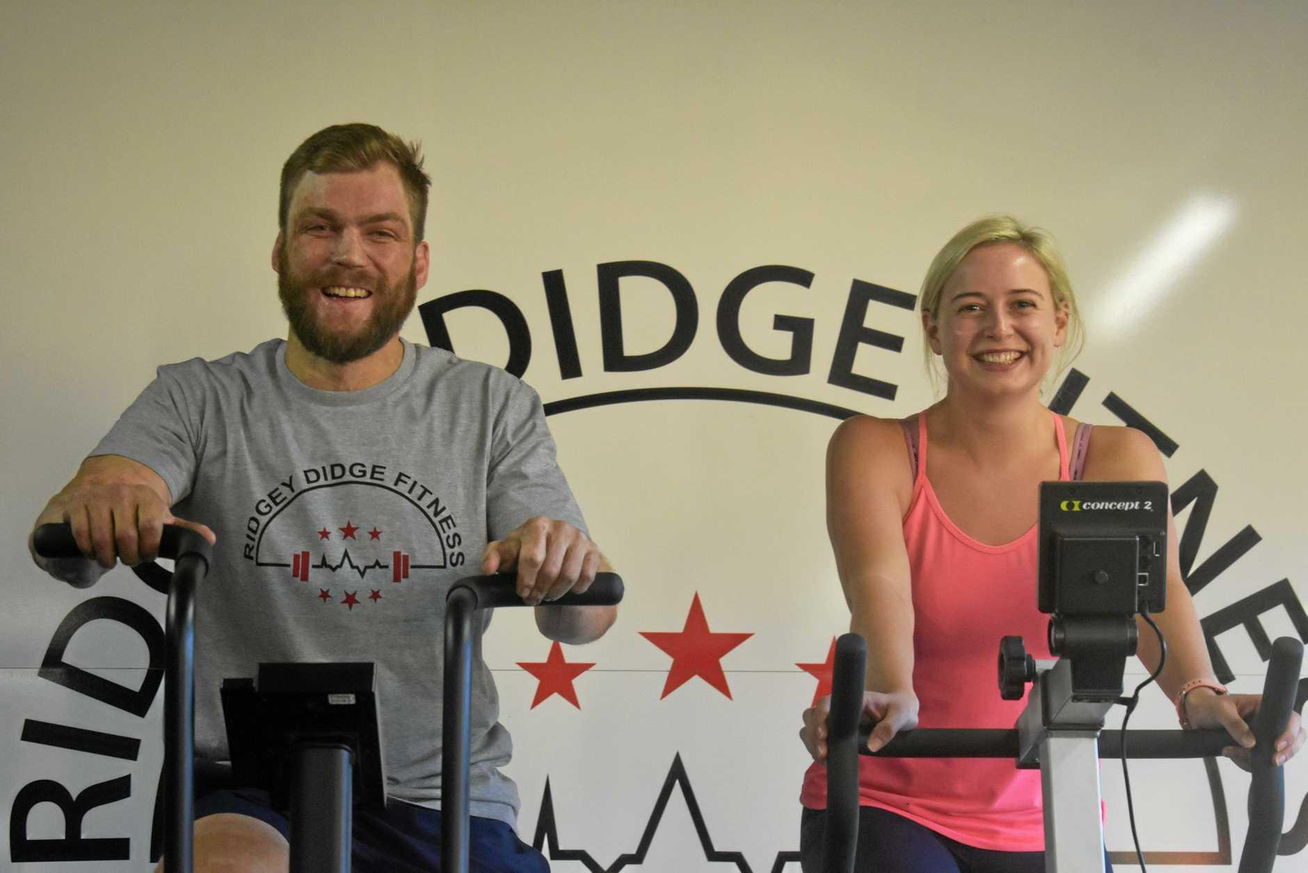 WINNERS: Tom Zerk and Georgie Gibson, who get married today, were winners for Ben Ridge's Ridgey Didge Fitness eight-week challenge.