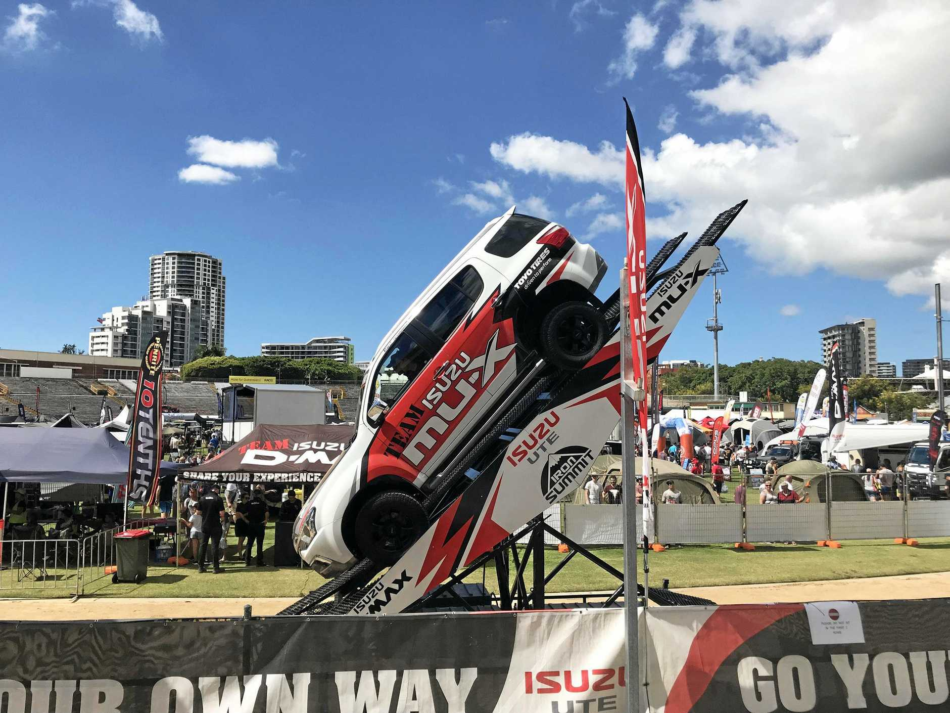 STEEP ENOUGH? Isuzu shows its wall-climbing ability on the test track.