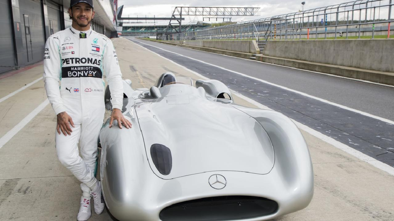 Hamilton with the Mercedes W196R. Picture: Supplied