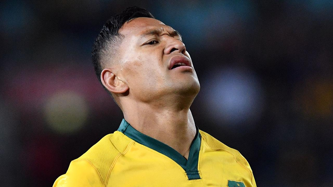 Australia's Israel Folau reacts during Rugby Championship Bledisloe Cup match against New Zealand in Sydney. (Photo by Saeed KHAN / AFP)