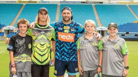 Michael Gordon with Tweed Coast Raiders juniors at Cbus Super Stadium. Picture: Gold Coast Titans