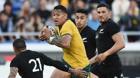 Israel Folau re-signed at a reduced rate to stay with Rugby Australia. Picture: Getty