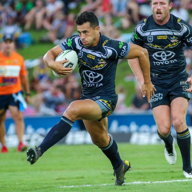 Jordan Kahu of the Cowboys during the Round 3 NRL match between the North Queensland Cowboys and Cronulla Sharks at 1300SMILES Stadium, Townsville, Saturday, March 30, 2019.