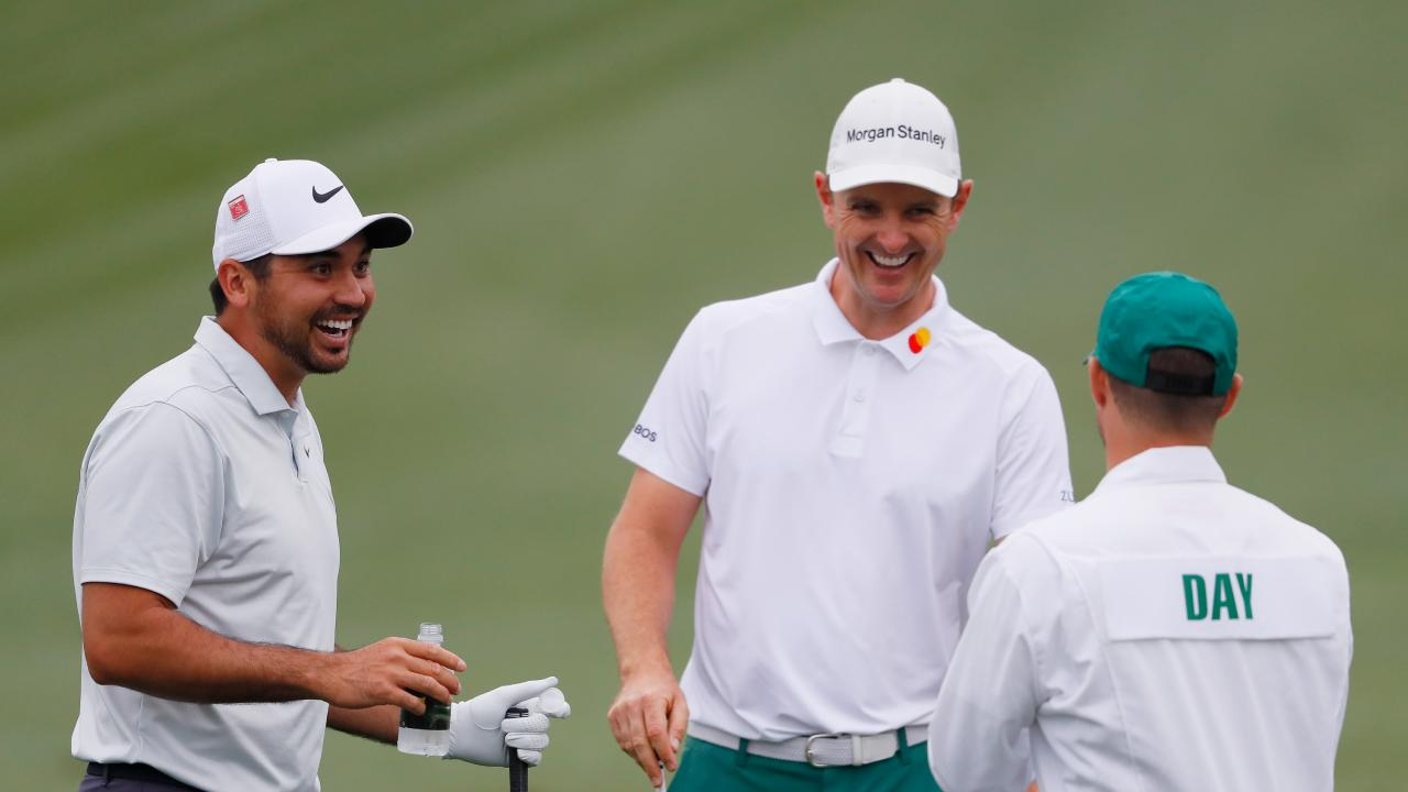 Day jokes around with England's Justin Rose. Picture: Getty
