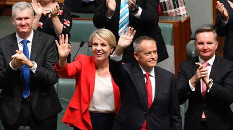 Deputy Opposition Leader Tanya Plibersek and Opposition Leader Bill Shorten wave after delivering the 2019-20 federal Budget reply speech. Picture: Mick Tsikas/AAP