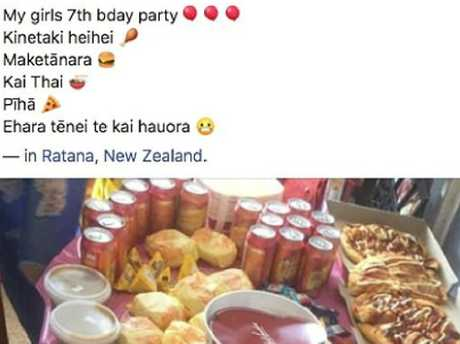 The mum posted a photo of her little girl's party spread before all the guests arrived. Picture: Facebook