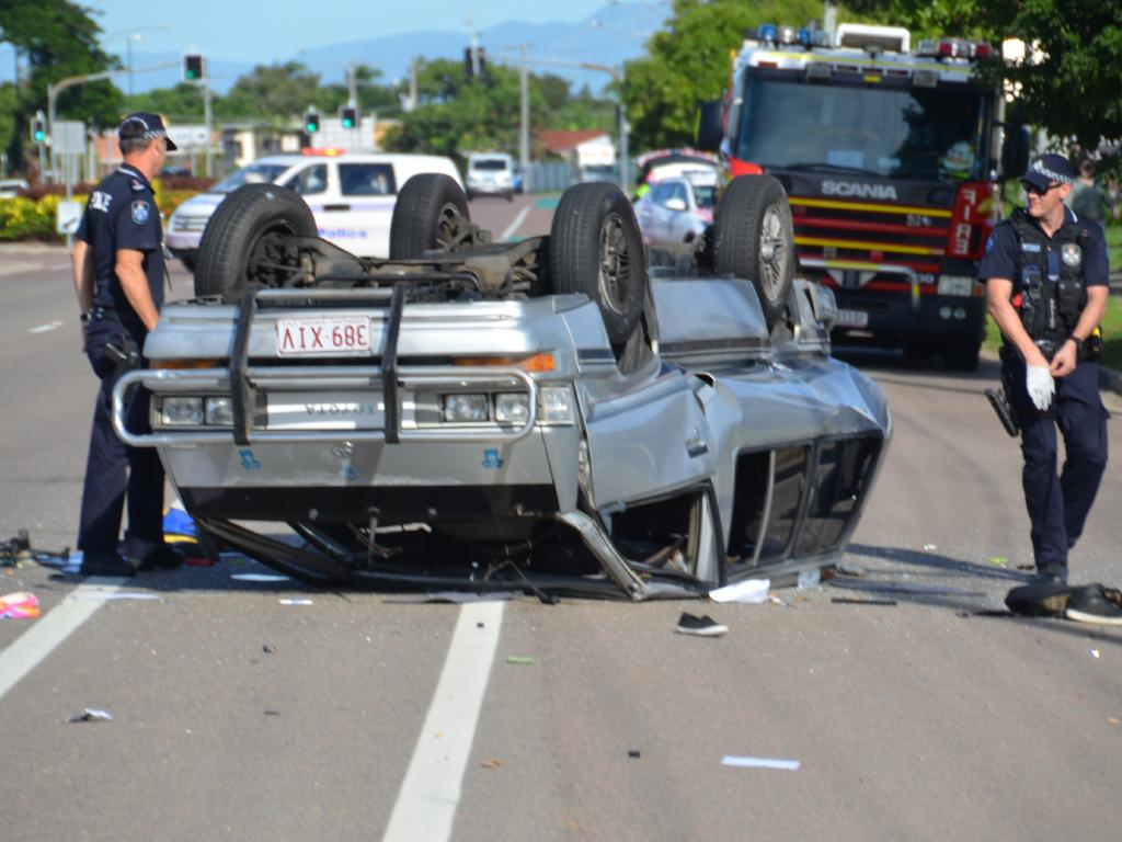 Police are asking why six kids were unsupervised when their car was allegedly stolen and crashed in Townsville.