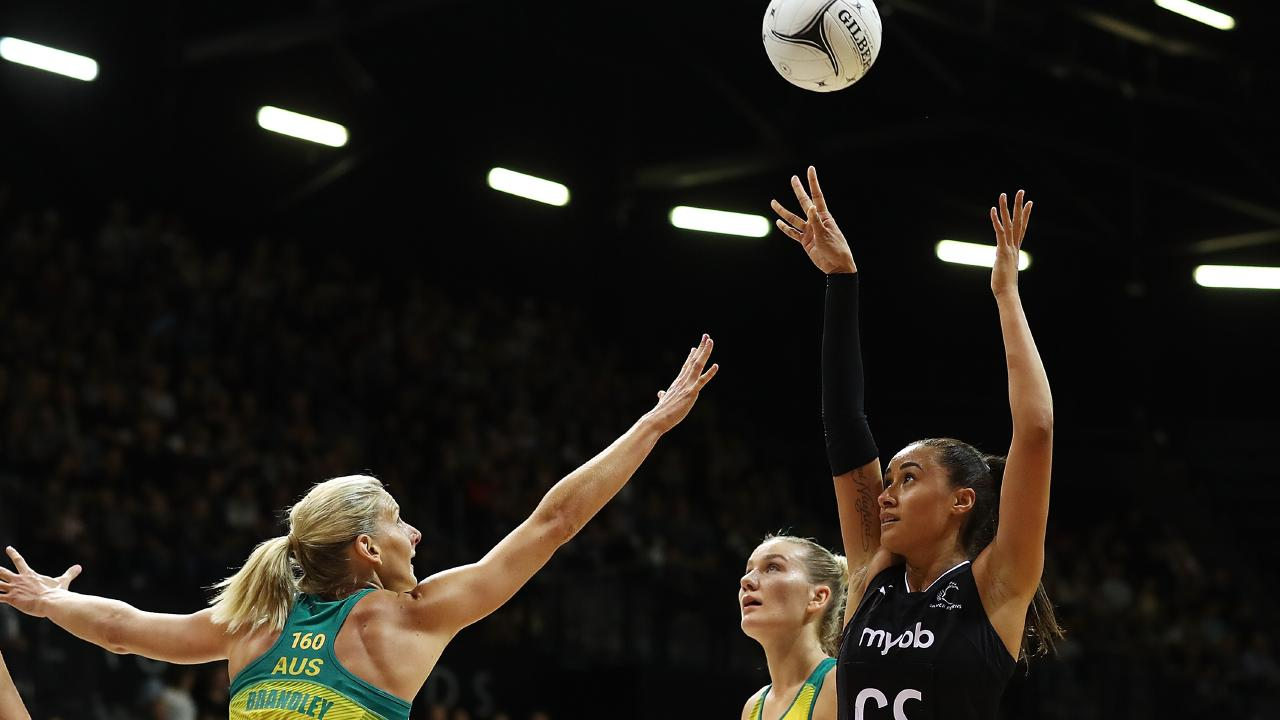 Maria Folau of the Silver Ferns shoots during the Constellation Cup match between the Australia Diamonds and the New Zealand Silver Ferns. Picture: Getty Images