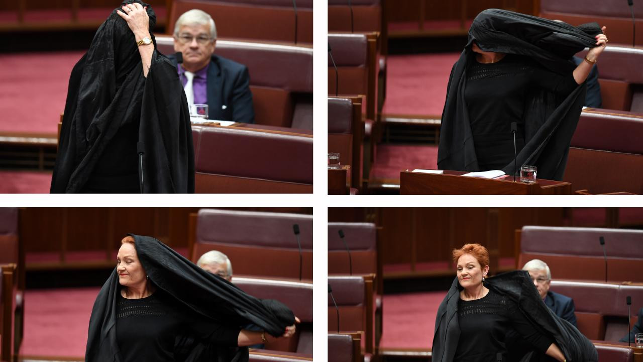 Pauline Hanson's burqa stunt stunned the nation. Picture: AAP