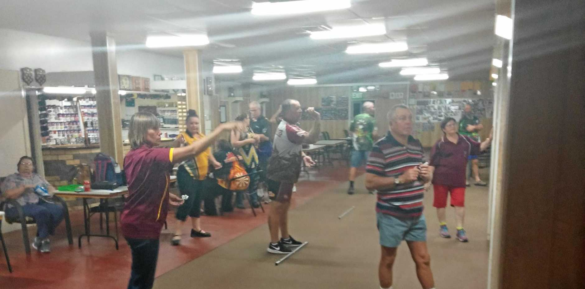 STRAIGHT SHOT: Callide Valley District Darts Club during the Tuesday competition night.