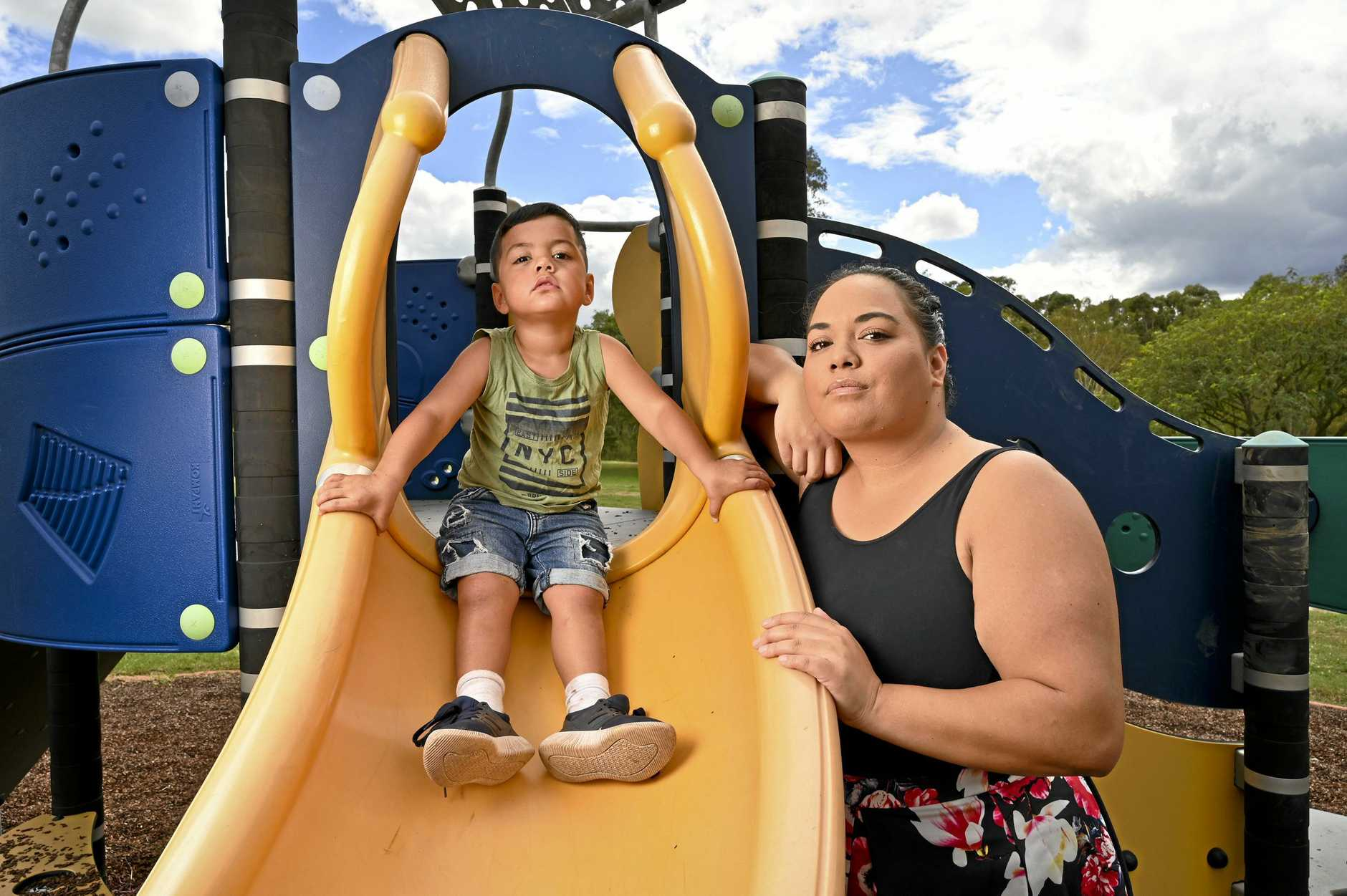 Maryanne Johnston and her son Wiley, 3, found used needles at Tony Merrell Park at Leichhardt.