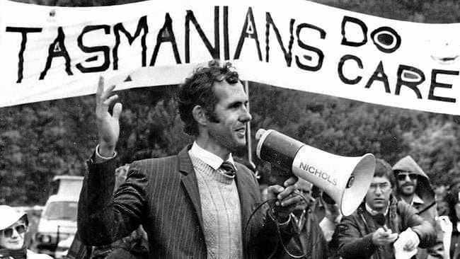 Bob Brown, the face of the campaign to block the Franklin River dam addresses a protest rally. In 1983, the High Court overturned a Tasmanian government decision to build the dam.