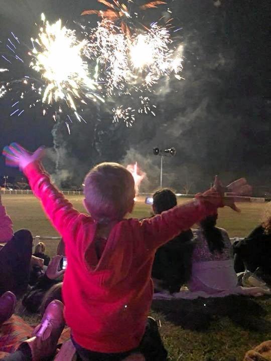 Hank Jackson loving the fireworks at the Nanango Show.