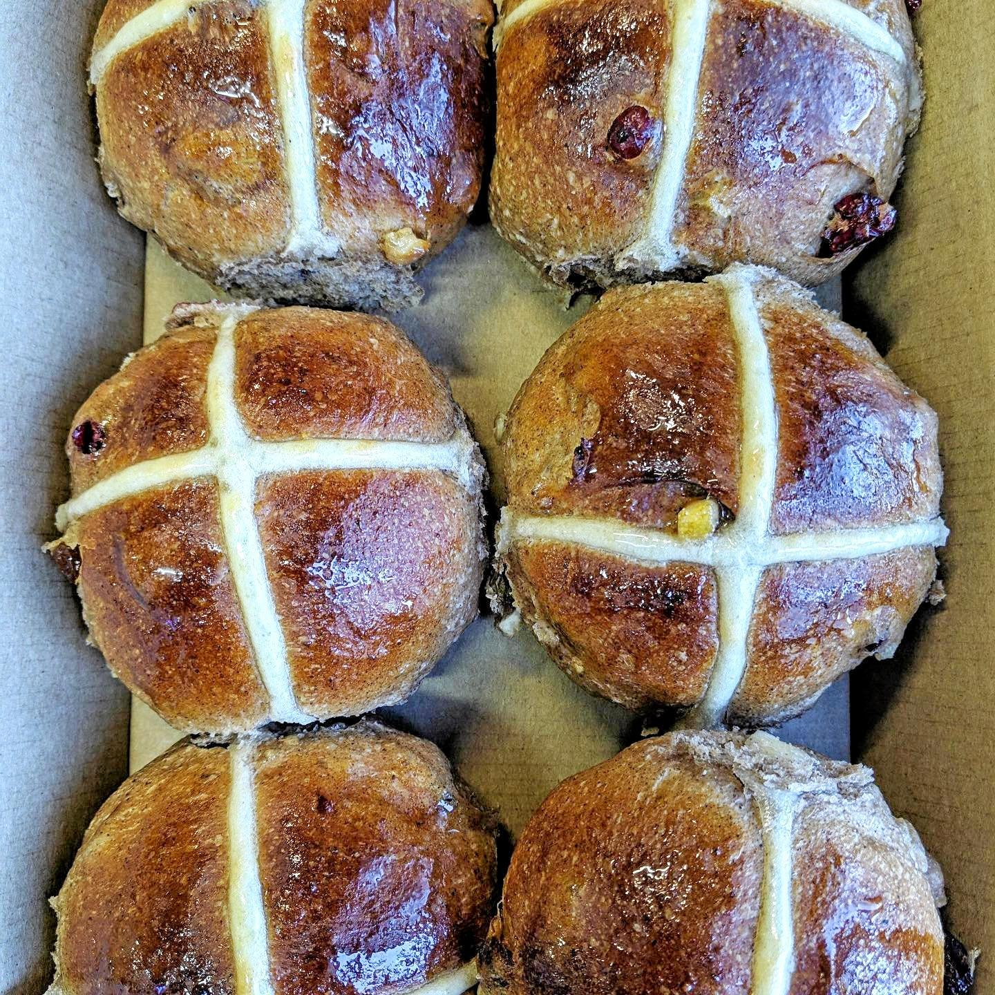 Easter treats around Toowoomba: Hot cross buns from Baker's Duck.
