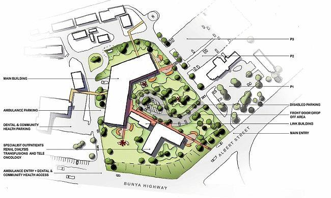 An artist's impression of what the Kingaroy Hospital will look like after the redevelopment is completed with buildings with access and car parking.