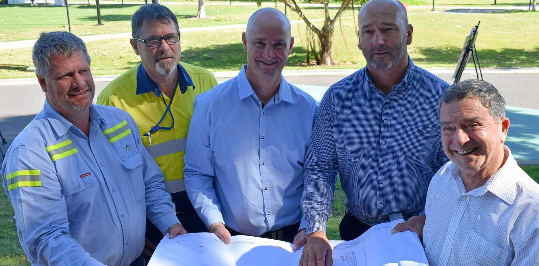 Owen Barton, Duncan Howard, State member Glenn Butcher, Craig Walker Acting Chief Executive of Gladstone Ports Corporation and Peter Corones AM Chairman of Gladstone Ports Corporation unveil the plans for the East Shores upgrade Stage 1B.