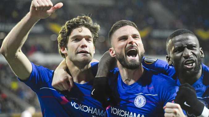 Chelsea's Marcos Alonso, Olivier Giroud, Antonio Rudiger celebrate their first-leg victory over Slavia Praha. Picture: Vit Simanek/AP