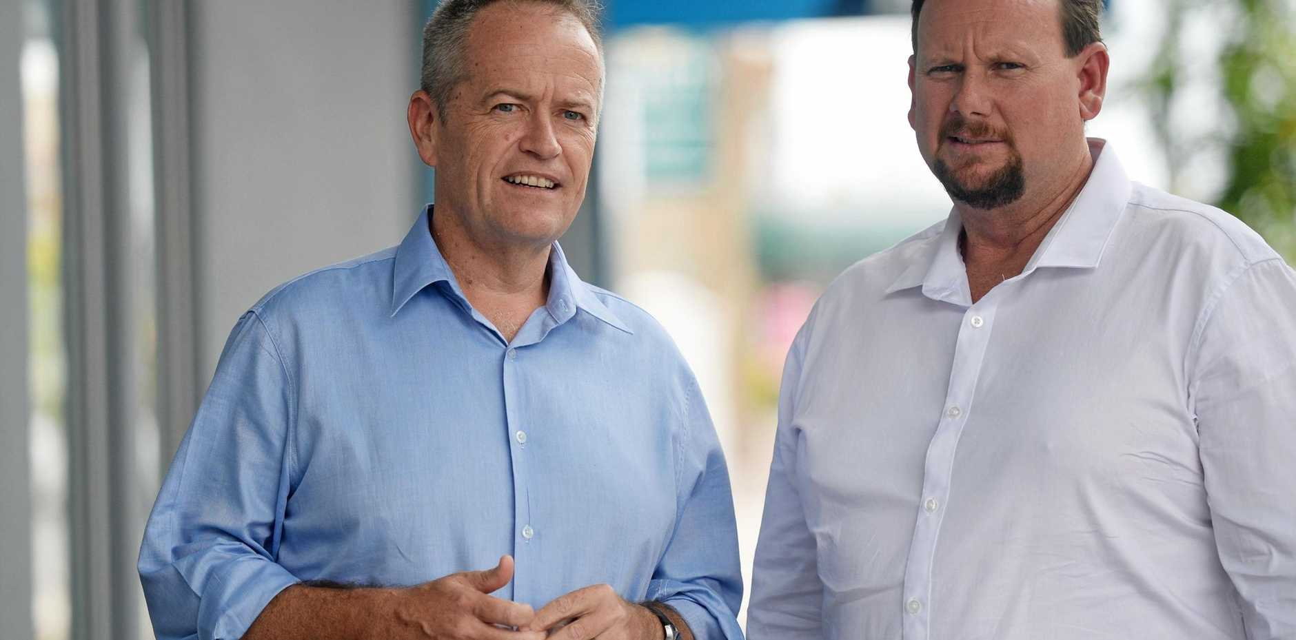 HOT SEAT: Bill Shorten and Russell Robertson are hoping to unseat the LNP's Michelle Landry.
