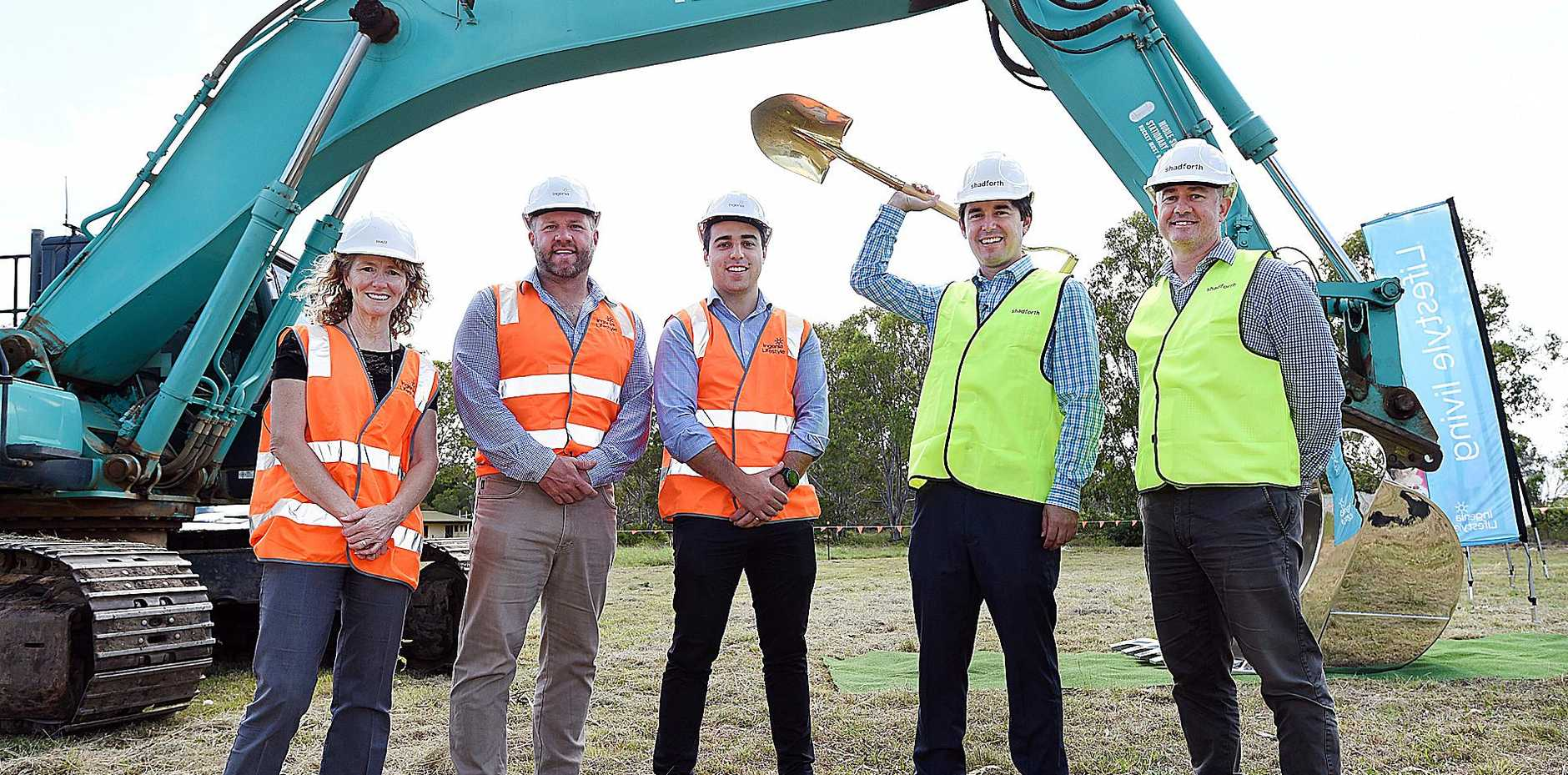 FIRST STEP: Sharon Manson (Ingenia Reg. Sales Mgr Qld), Ed Wortman (Ingenia Development Director), Matt Fedrick (Ingenia Snr Dev. Mgr), mayor George Seymour and Brad Moses (Shadforth G/Mgr. Pre Contract) at the sod turning at the Ingenia site.