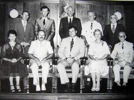 Julia Lawrence the alderman on Gympie City Council, seated beside the mayor Mick Venardos