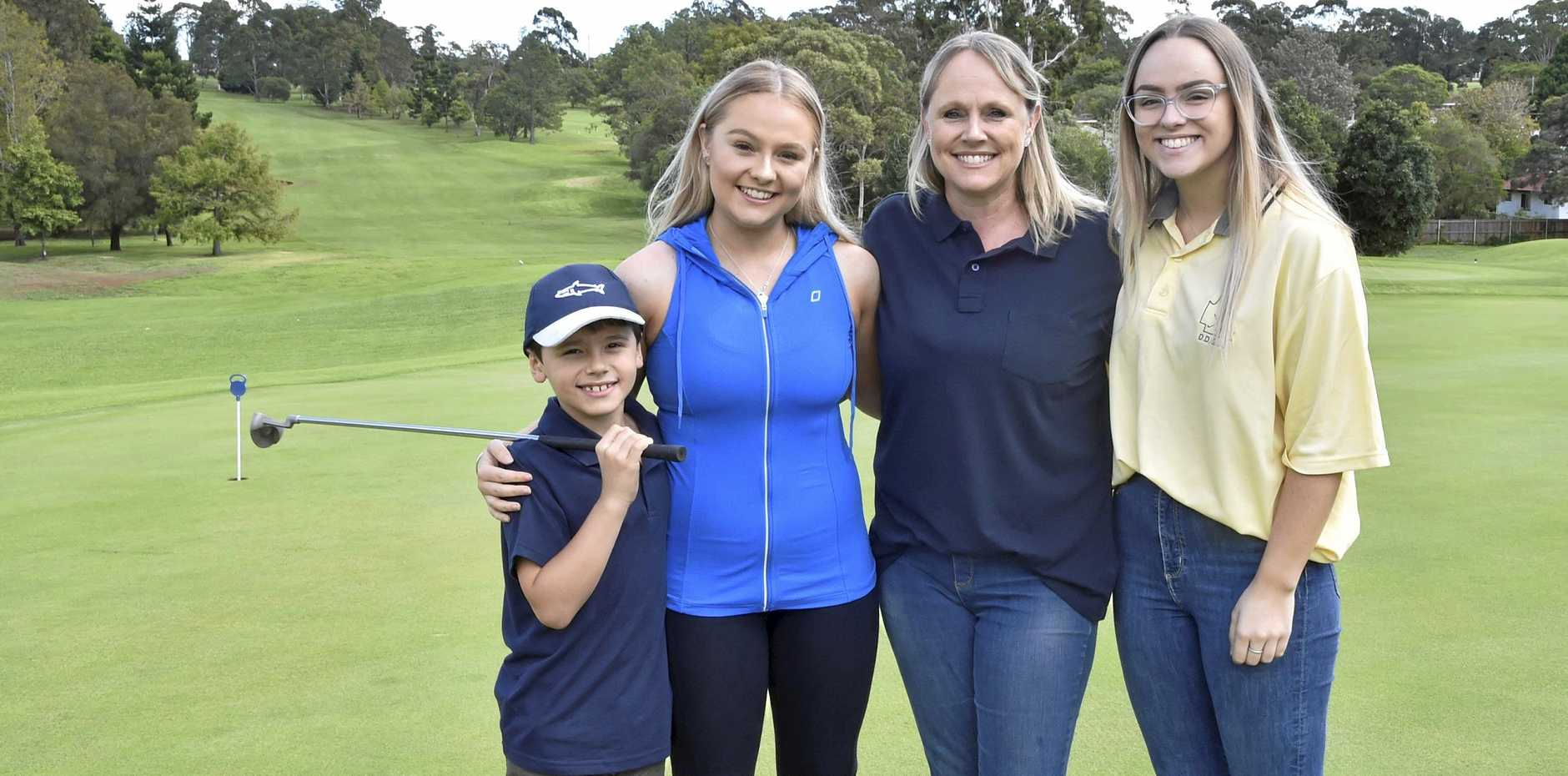 IN MEMORY: Celebrating the life of Leon Treadwell are his family (from left) Lachlan Betros, Brooke, Leah and Emily Treadwell.