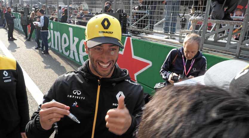 Daniel Ricciardo signs autographs for fans ahead of the Formula 1 Heineken Chinese Grand Prix 2019 at the Shanghai International Circuit. Picture: Chen Di/AP