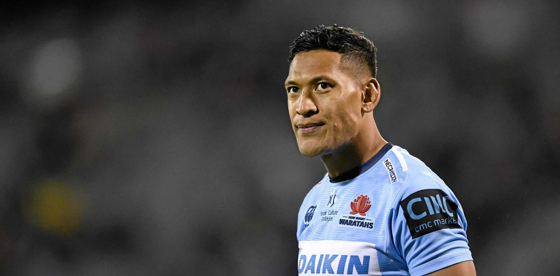 Israel Folau is on the outer following his homophobic rant on social media. Picture: Lukas Coch/AAP
