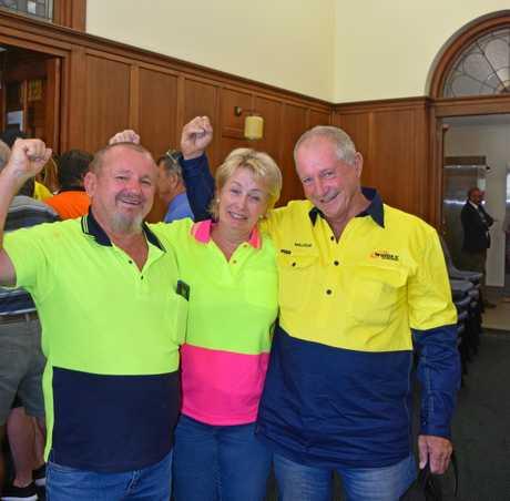 Peter Saal, Malcolm Biegel and Di Saal celebrate Widgee Engineering's win