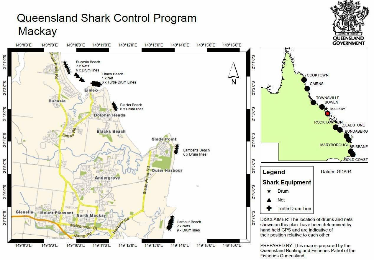 Queensland Shark Control Map