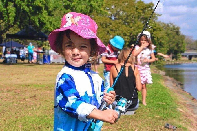 Fishing at the Tilapia Stop The Spread Family Fun day, event at the Mackay Gooseponds in past years.