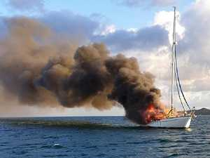 Lucky escape after boat goes up in flames