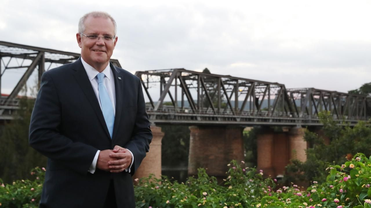 Prime Minister Scott Morrison on the bank of the Nepean River in Sydney's western suburbs on the first day of the election campaign. Picture: Adam Taylor