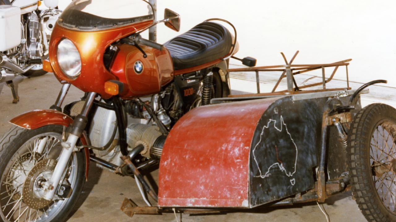 Tim Thomson's 1977 BMW R100S motorcycle with homemade sidecar. The bike was recovered two weeks after the bodies were discovered.