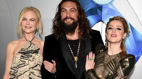 Nicole Kidman, Jason Momoa and Amber Heard at the Aquaman premiere last year.