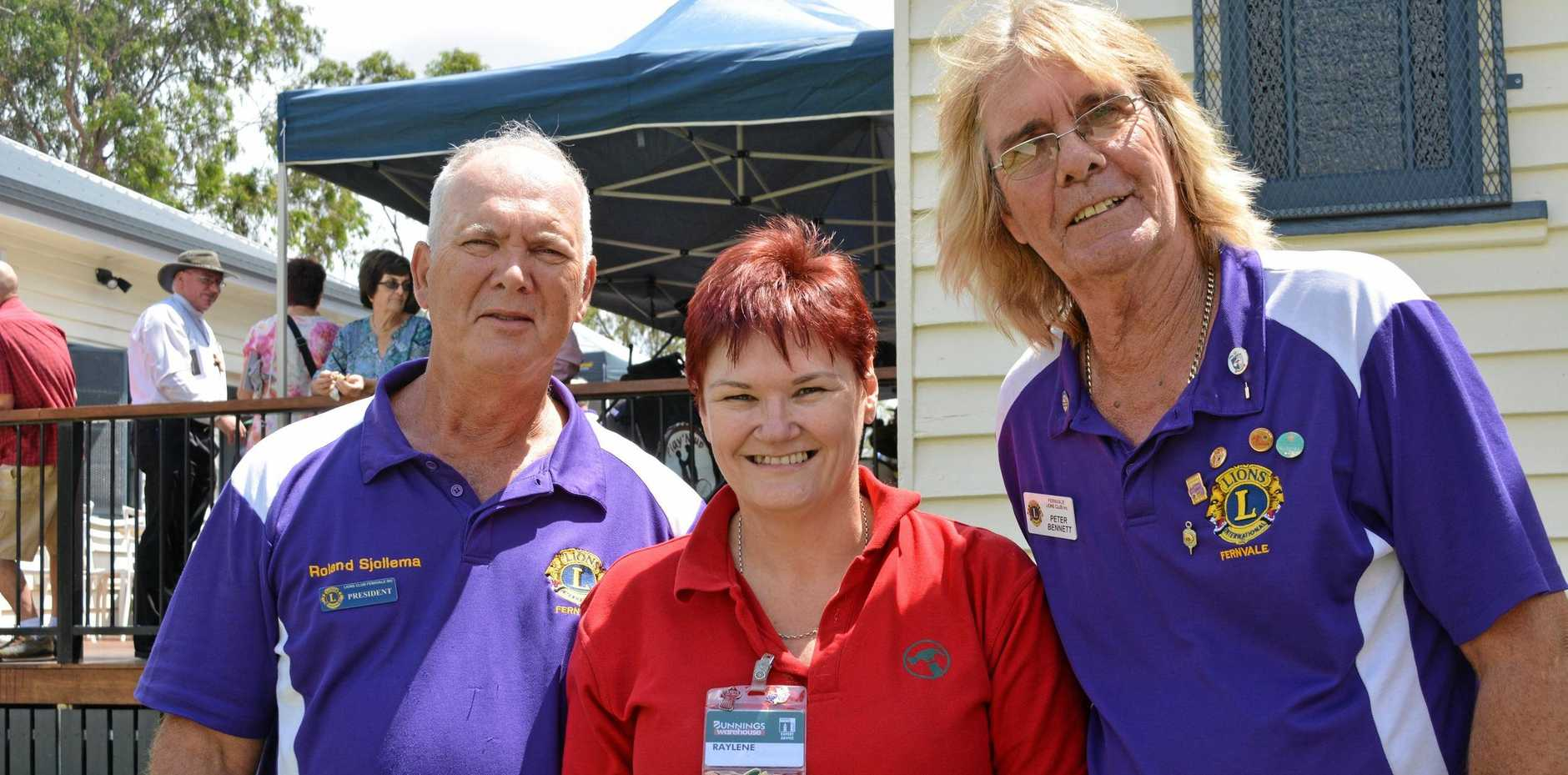 READY: Peter Bennett (right) with Roland Sjollema and Raylene Drew. Peter is busy preparing to take over as president of the Fernvale Lions.