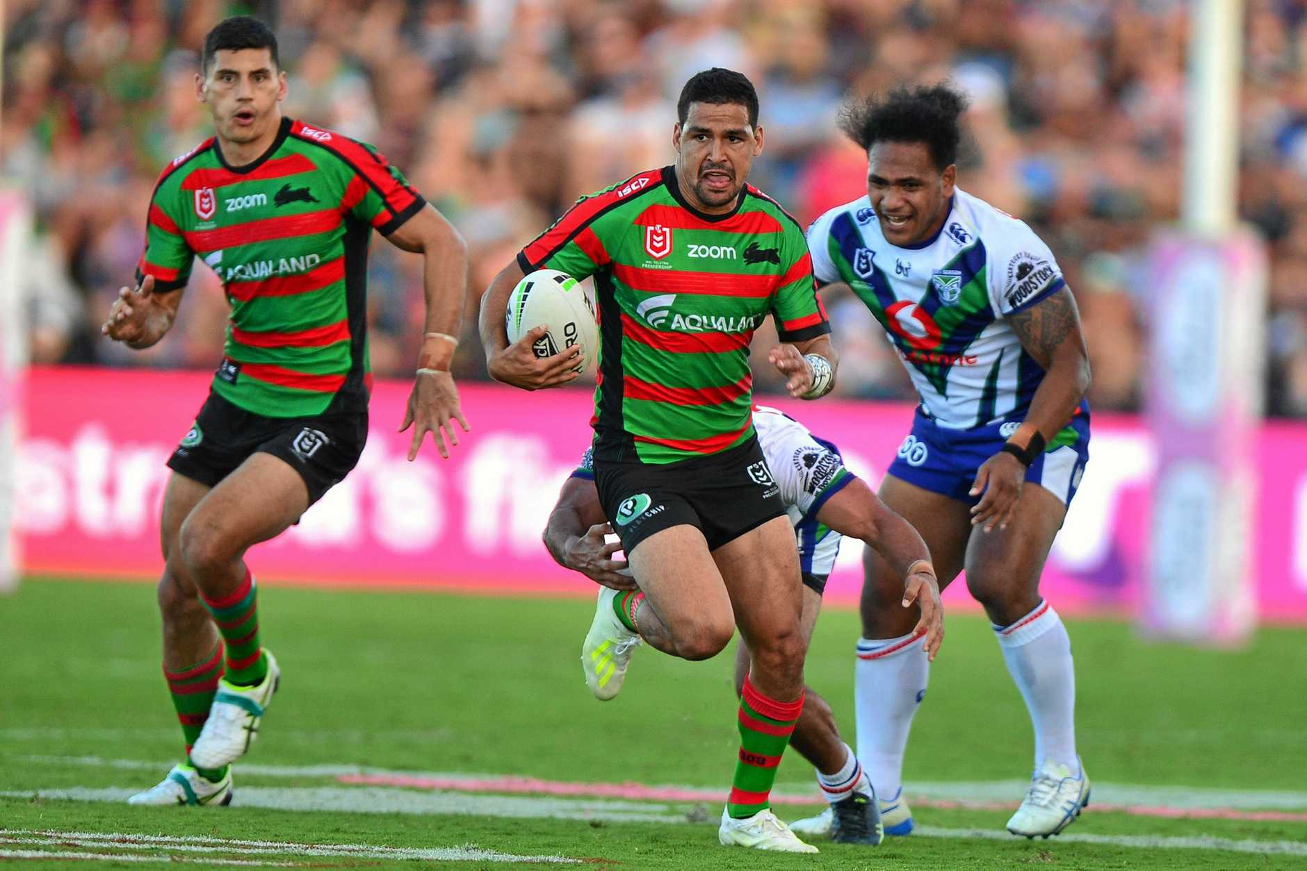 NRL action at Sunshine Coast Stadium between New Zealand Warriors and the South Sydney Rabbitohs. Cody Walker.