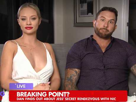 Their breakup came after an awkward TV interview on Talking Married where Jess finally admitted she propositioned fellow contestant Nic. Picture: Talking Married