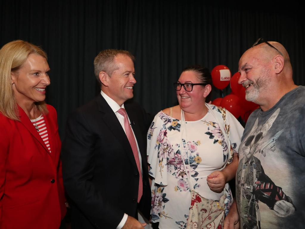 Opposition Leader Bill Shorten meeting Trish, who shared her story of being diagnosed with cancer. Picture Kym Smith