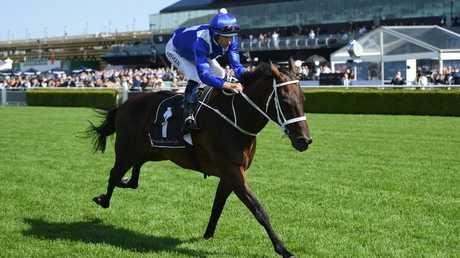 Jockey Hugh Bowman rides Winx.