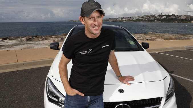 Hugh Bowman with his Mercedes Benz. Picture Chris Pavlich