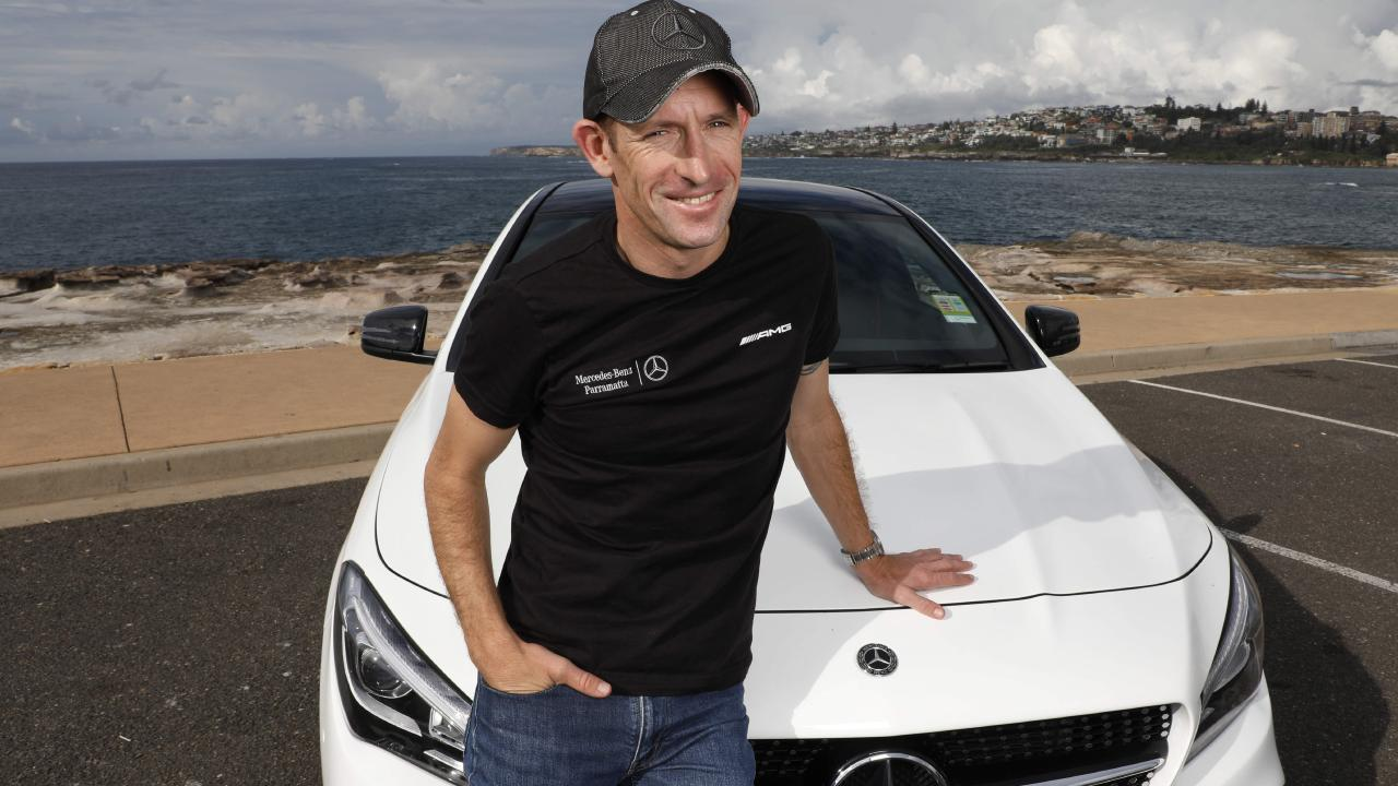 Hugh Bowman with his Mercedes Benz. Picture Chris Pavlich