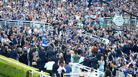 The crowds turned out in force at Royal Randwick in Sydney to bid farewell to a racing legend. Picture: Getty Images