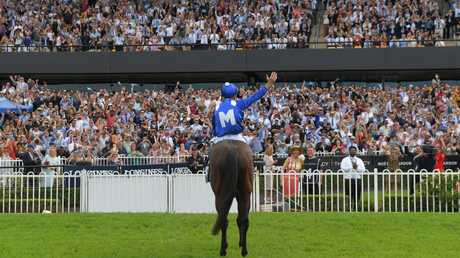 Jockey Hugh Bowman salutes the crowd after yet another Winx victory.