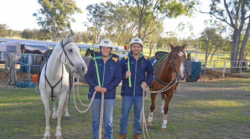 HORSEPOWER: Siblings and Australian team members Lucy and Jimmy Grills, in Warwick with 34 horses for the Adina Polocrosse World Cup.